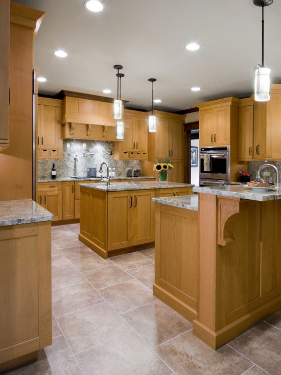 Traditional Kitchen White Cabinets With Tile Floor Giallo ... on What Color Granite Goes With Honey Maple Cabinets  id=91036