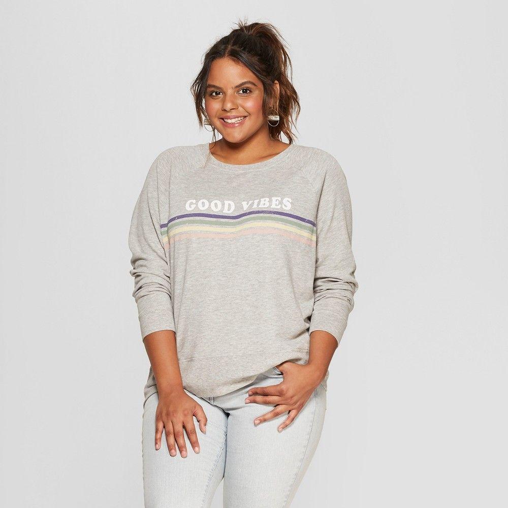 5473ad0056cfd Women s Plus Size Good Vibes Rainbow Striped Graphic Sweatshirt - Grayson  Threads (Juniors )