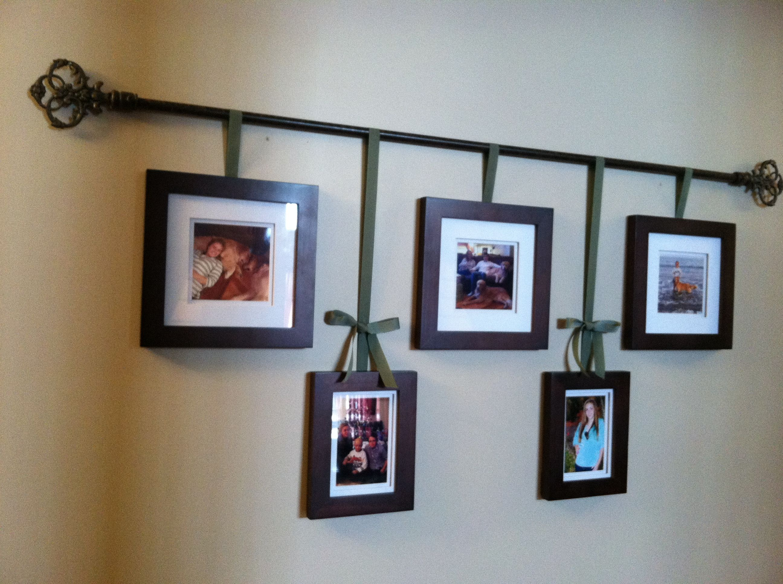 My Version Of A Curtain Rod Photo Hanger Perfect For Our Long
