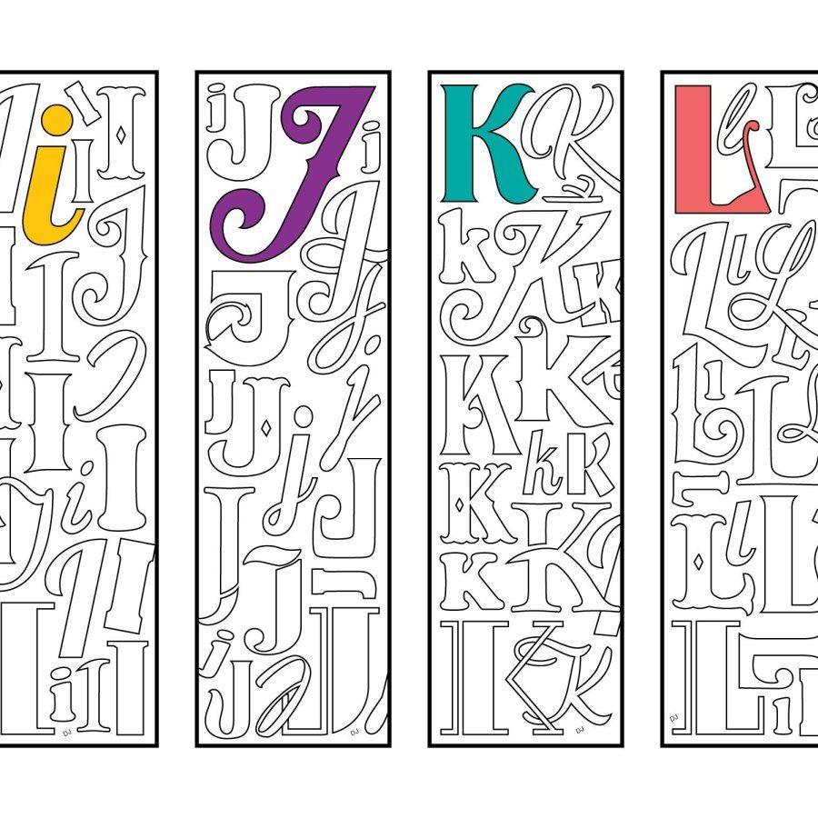 I J K L Monogram Alphabet Letter Bookmarks Pdf Zentangle Coloring Page In 2020 Alphabet Coloring Pages Coloring Bookmarks Bookmarks