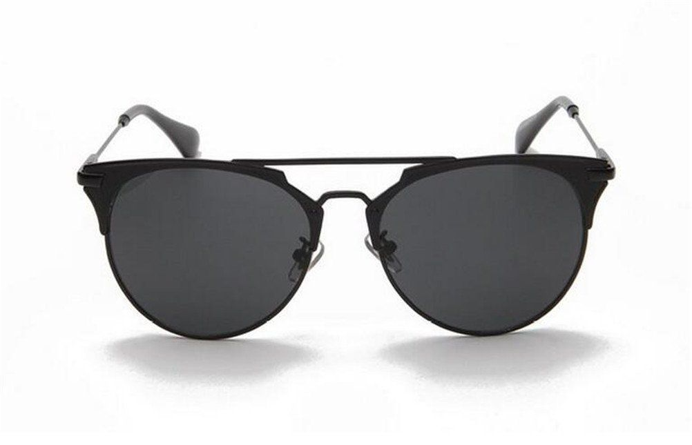 GAMT Fashion Metal Crossbar Aviator Sunglasses Flat Reflective Mirror Cateye Polarized Sunglasses UV400 Black