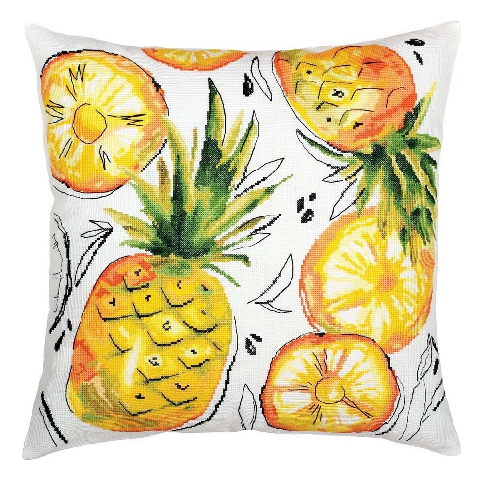 Counted Cross Stitch Kit Pillow Cover Embroidery Kit, Summer Pineapple Slices, Pillow Embroidery, Kitchen decor, Good gift for Mom & Sister