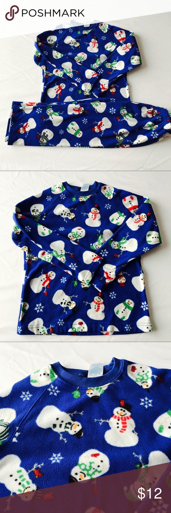 blue boys christmas holiday winter snowman pajamas childrens place blue boys christmas holiday winter snowman pajamas excellent condition no flaws