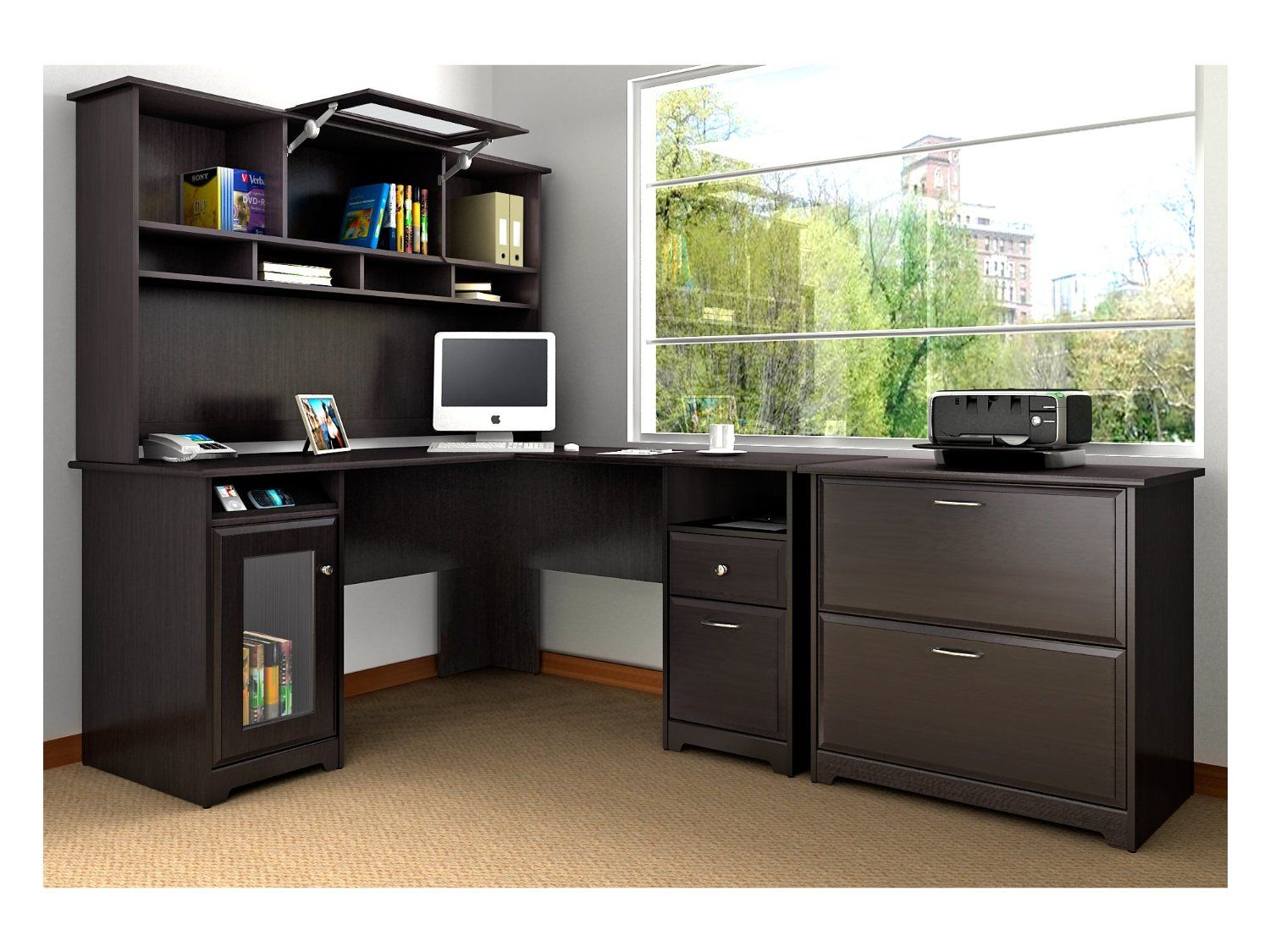 Bush Furniture Cabot L Desk With Hutch And Lateral File Home Office Desks