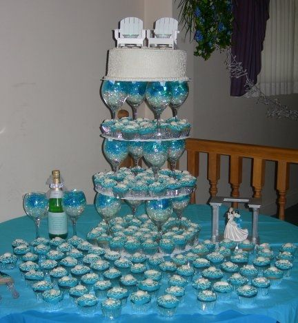 Cupcake stand with wine glasses (without the cake on top ...