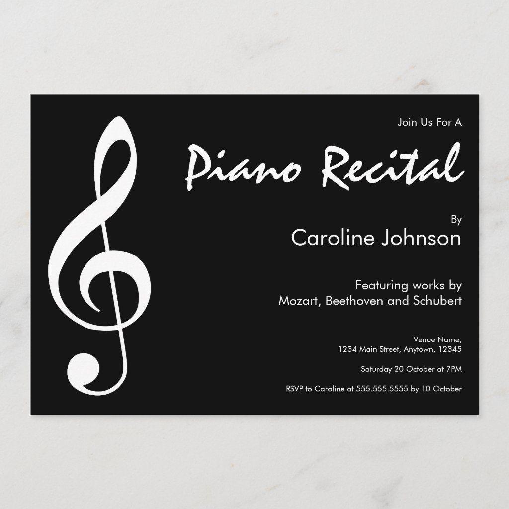 Elegant Modern Black Music Piano Concert Recital Announcement Zazzle Com Piano Recital Recital Piano Music