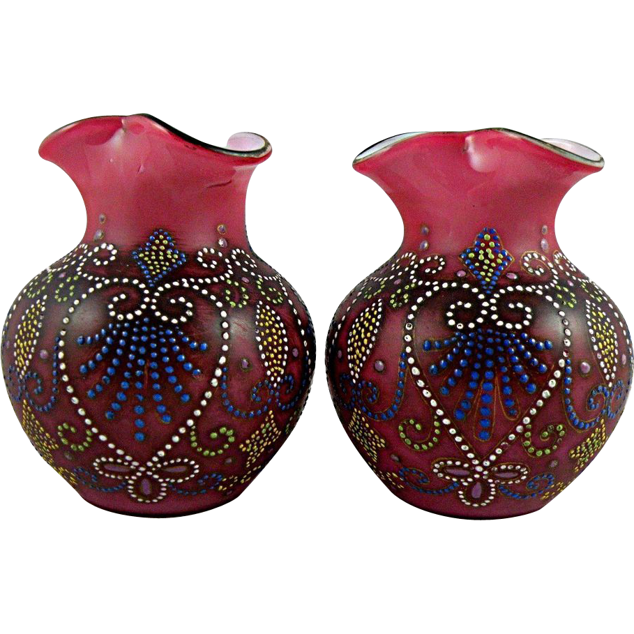 Pair Victorian Enameled Glass Vases Probably Bohemian From