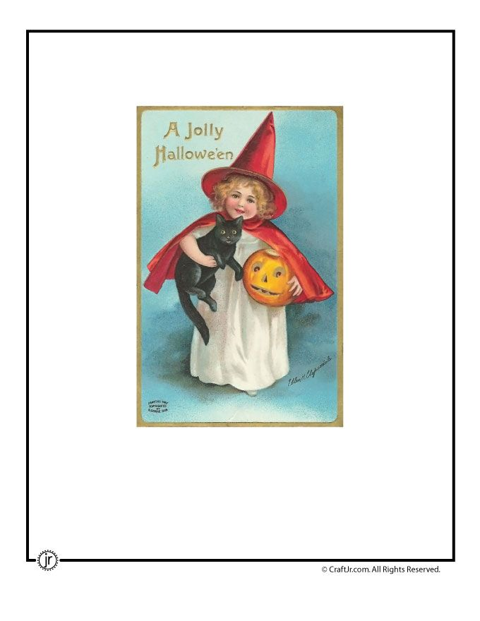 Printable Vintage Halloween Cards Cute Cat And Witch Vintage Halloween  Postcard U2013 Craft Jr.