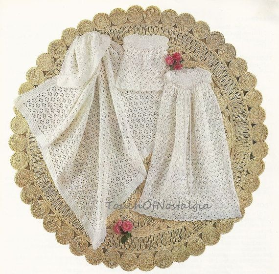 Vintage HEIRLOOM CHRISTENING GOWN Set Crochet Pattern - Dainty Gown ...