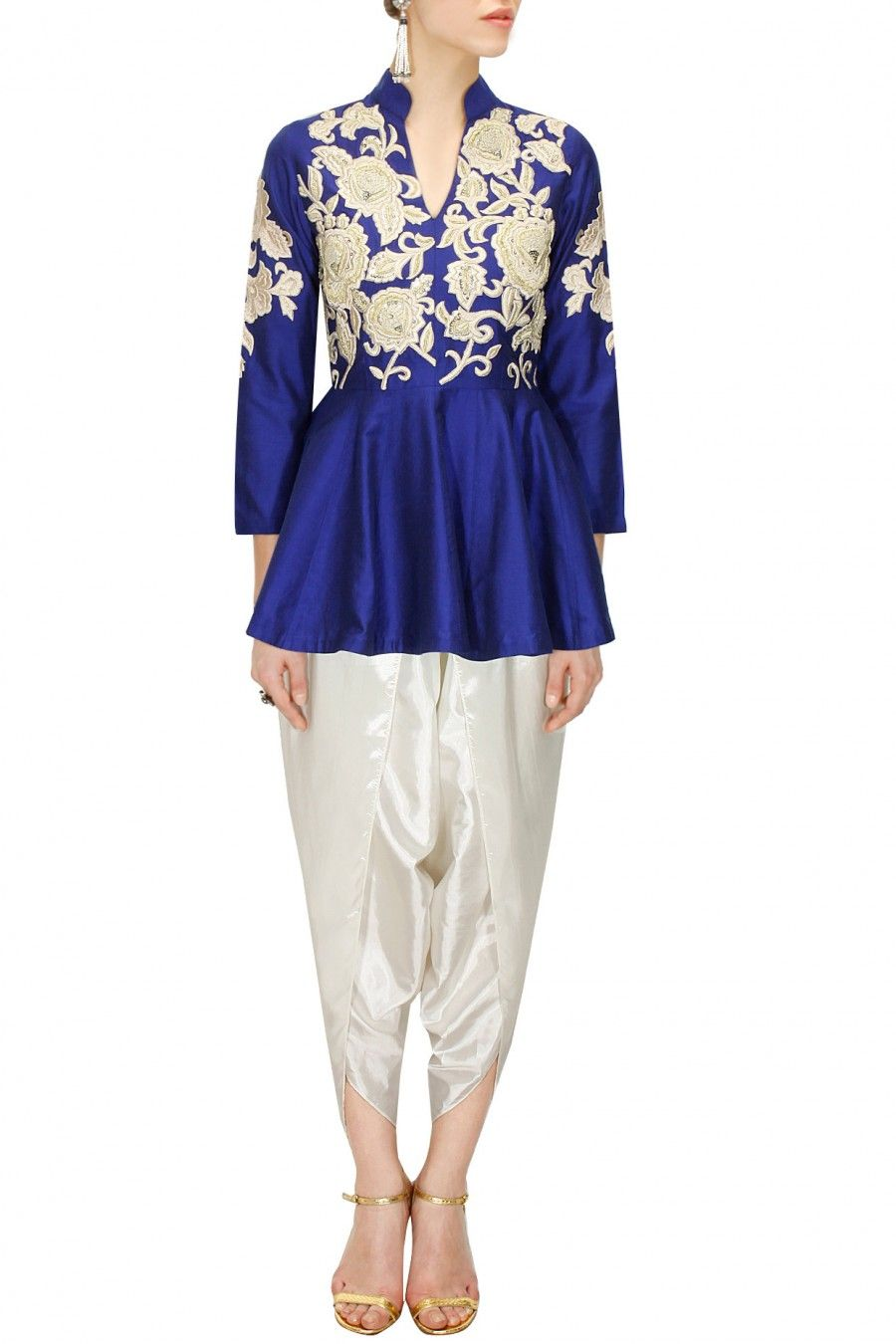 40103f651 Blue dabka embroidered peplum kurta with dhoti pants available only at Pernia's  Pop-Up Shop.