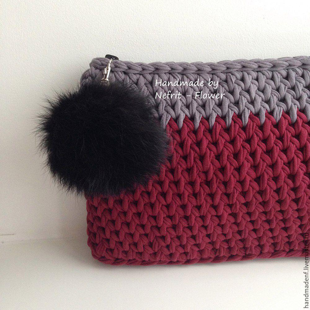 Купить Вязаный клатч с помпоном   Crochet   Crochet ...