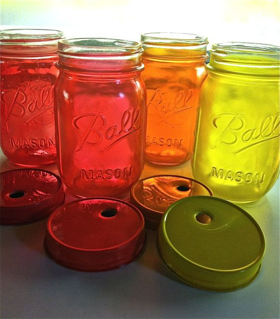 Four Food and Dishwasher Safe Hand Painted Mason Jar Glasses With Painted Lids