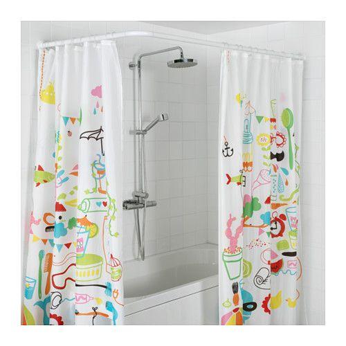 Vikarn Duschdraperistang Vit Ikea Corner Shower Curtain Rod Shower Curtain Rods Diy Curtain Rods