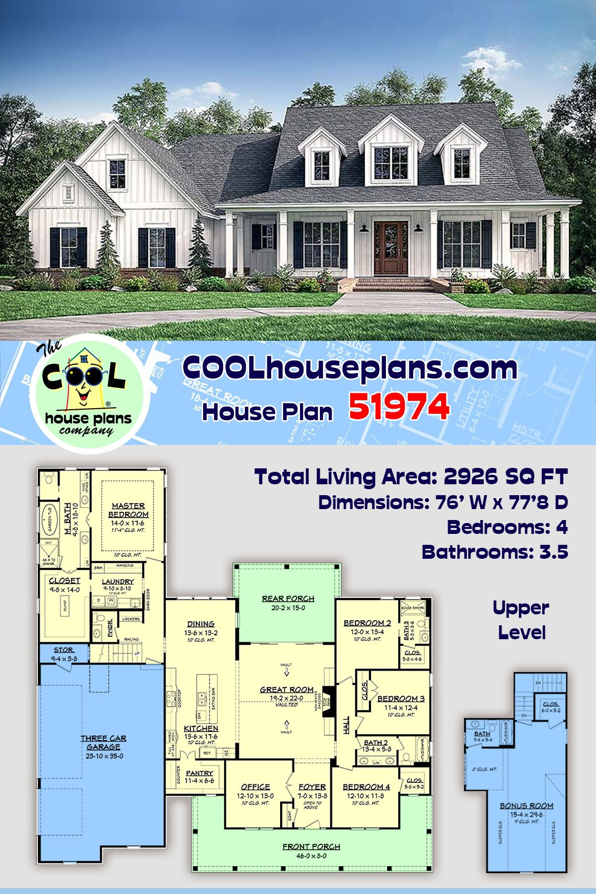Southern Style House Plan 51974 With 4 Bed 4 Bath 3 Car Garage In 2020 Farmhouse Style House Plans Farmhouse Style House House Plans Farmhouse