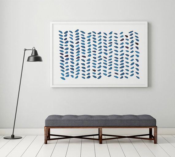 Large abstract wall art navy blue painting by yellowredandblue