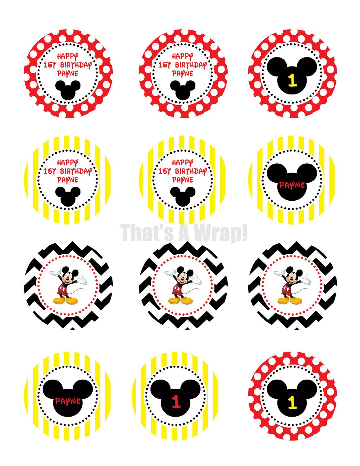 Mickey Mouse Printable Cupcake Toppers Party Circles Diy Digital File 10 00 Via Etsy Mickey Mouse Printables Fiesta Mickey Mouse Mickey Mouse Cake Topper