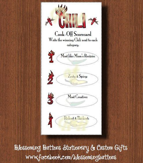 Printable Chili Cook Off Scorecards by BlossomingButtons on Etsy ...
