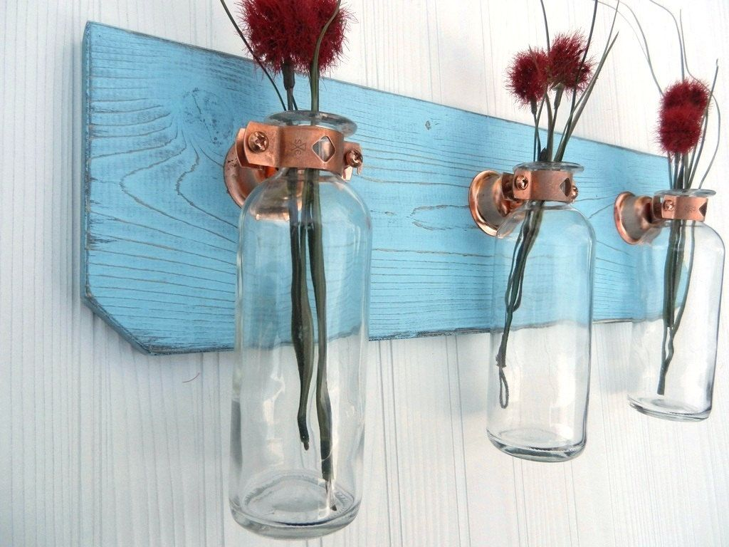 Shabby chic hanging wall vase sconce- Industrial chic- beach decor ...