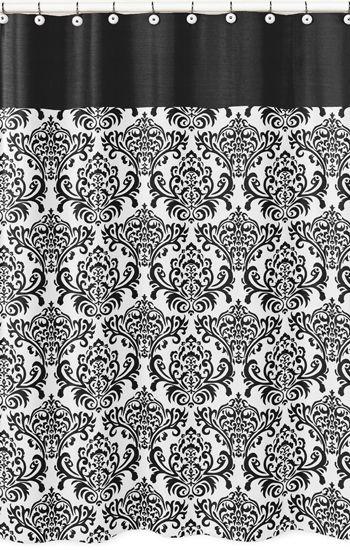 Black And White Isabella Paris Theme Bathroom Shower Curtain