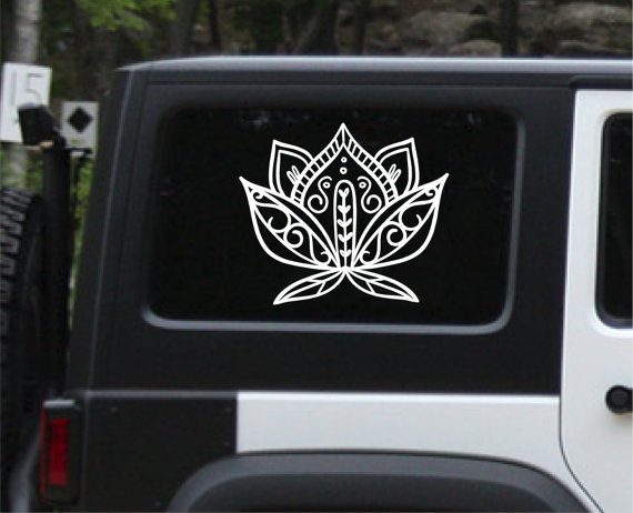 Beautiful Lotus Flower Car Decal Vinyl Decal Henna Paisley