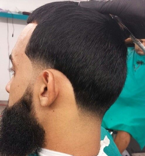 super clean beard and taper hair