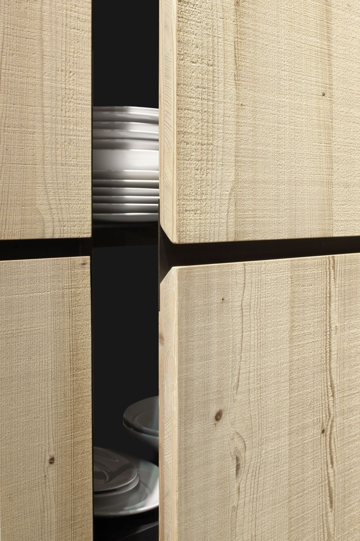 Cabinet - cupboard - detail - wooden front - recessed handle ...