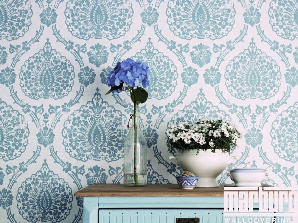 Scandinavian vintage vliestapete landhaus tapete vlies blau wei grau tapeten und farben - Tapete orientalisch blau ...