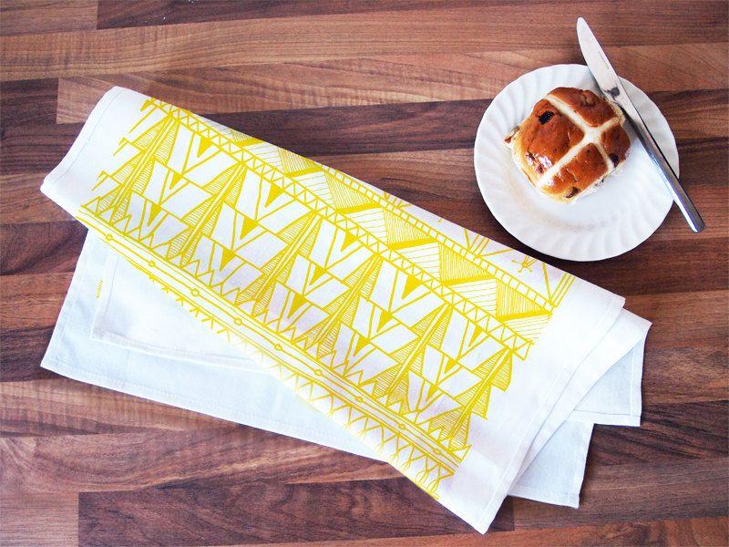 Tribal Print Tea Towel 100 Cotton Large Kitchen Yellow On White