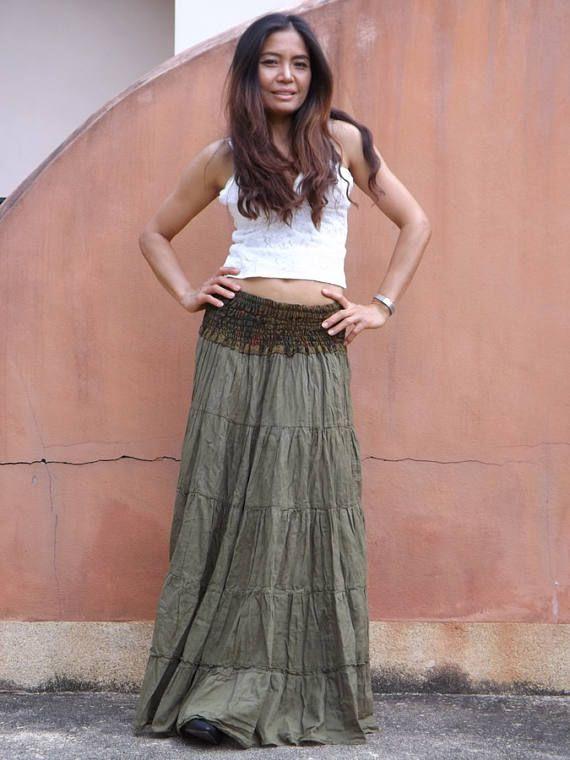 8e7e04739d Long Boho Skirt..Long Maxi Skirt ..Full Length Skirt..Color Seaweed Green.. Soft and Floaty