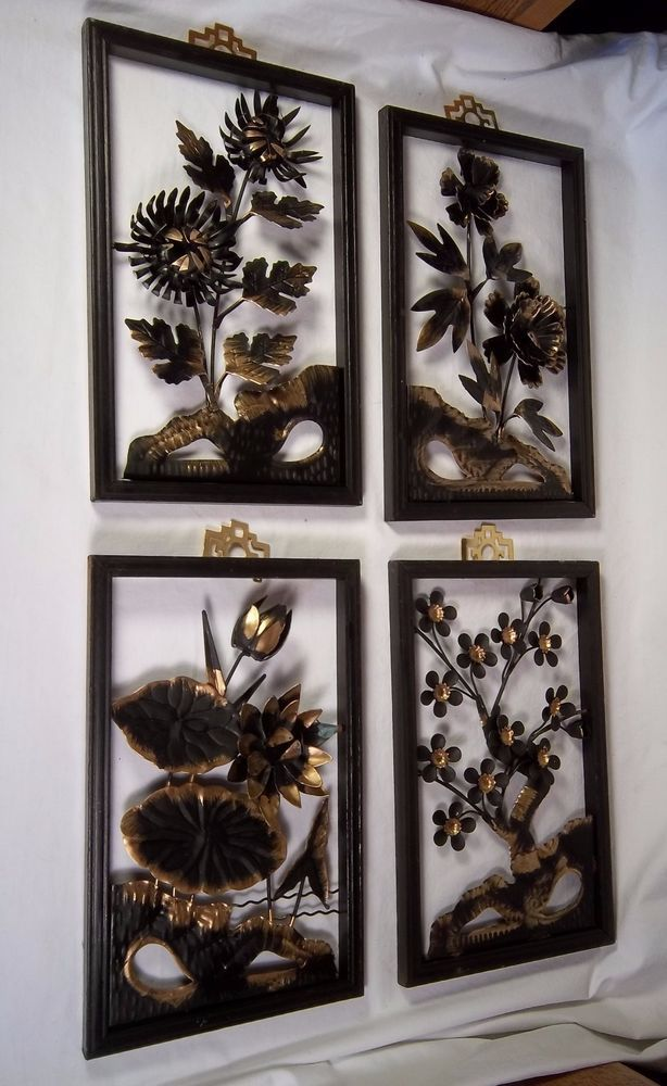 Vintage Oriental Set 4 Wall Hanging Framed 3d Black Gold Metal Floral Art Decor Unbranded Asianoriental Floral Art Hanging Frames Art Decor