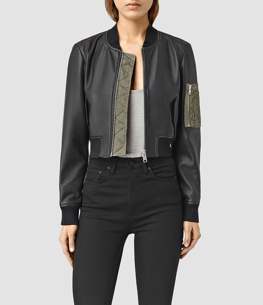 Allsaints Us Womens Wells Leather Bomber Jacket Black Khaki Green Leather Flight Jacket Denim Bomber Jacket Jackets [ 1044 x 900 Pixel ]