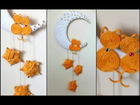 Moon Wall Hanging From Wool And Cardboard Wall Decor Easy