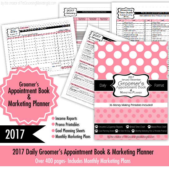Dog Grooming Appointment Book  Marketing Planner For Pet