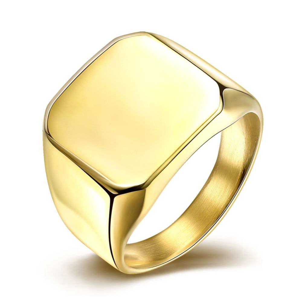 INALIS Square Big 17mm Width Signet Rings 24K Gold Colour Fashion ...