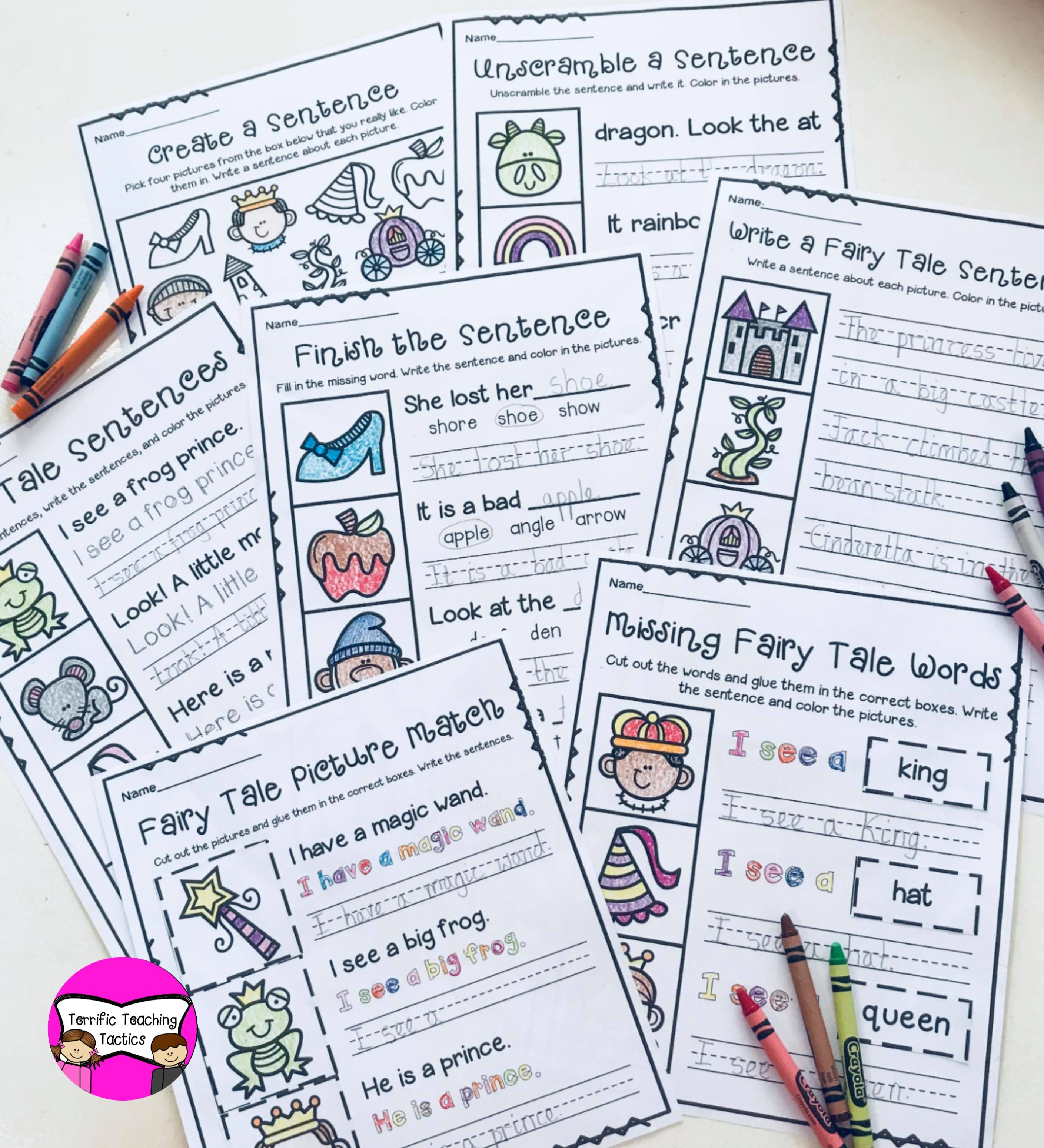 Fairy Tale Sentence Writing Worksheets