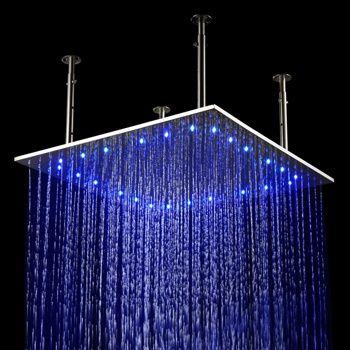 24 Led Stainless Steel Ceiling Rain Shower Head Led Shower