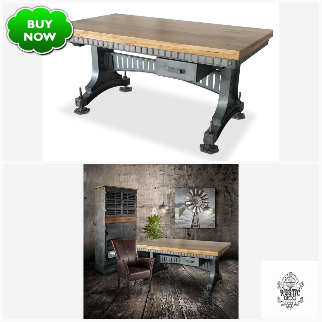 Industrial Adjustable Height Office Desk - Iron Steel - Brunel Bridge - Natural  #vintageindustrial #midcentury #decopunk #rusticdeco #steampunk #dieselpunk #industrialfurniture