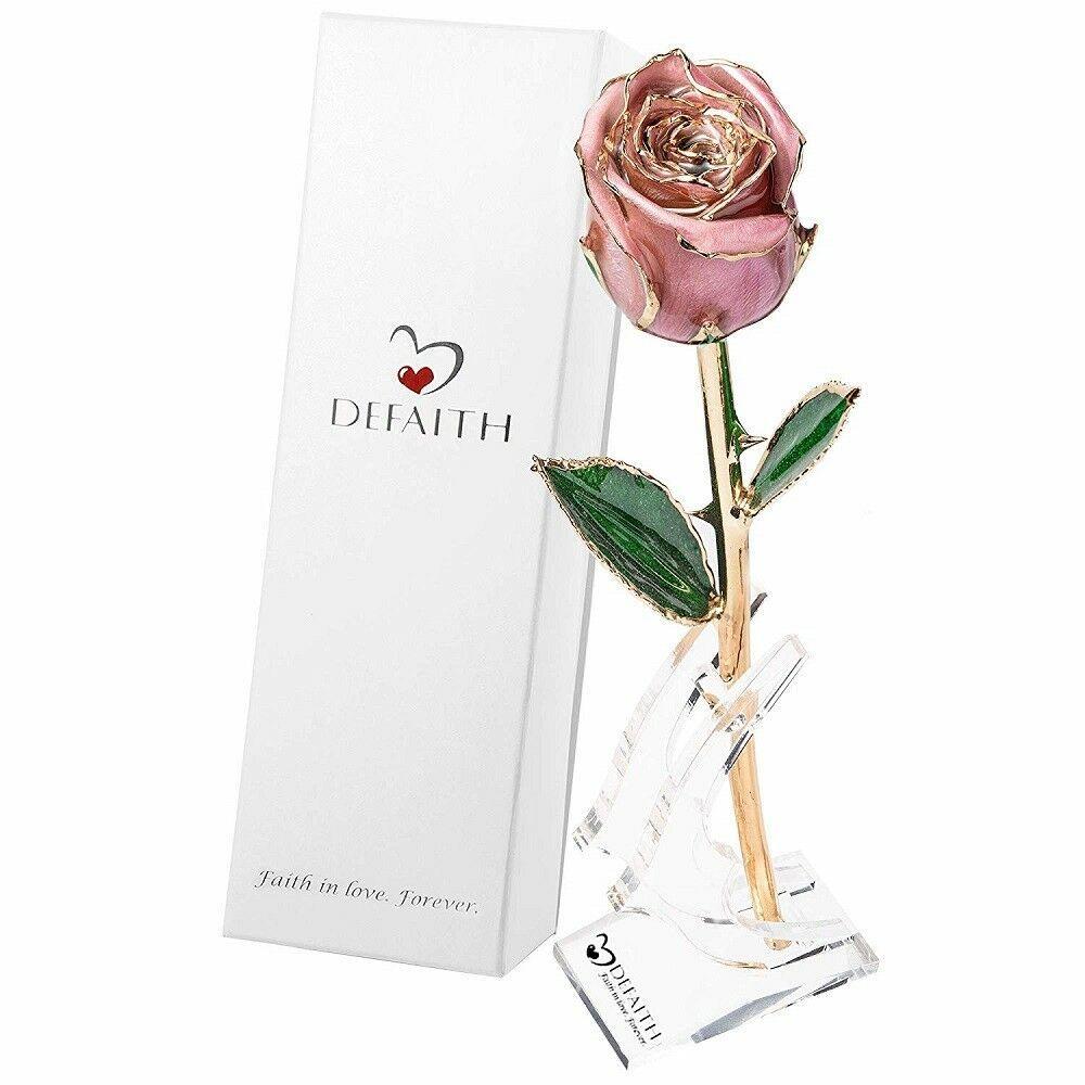 Gold Dipped Rose For Women 24k Real Flower Valentine S Day Anniversary Girl Gift Defaith Gold Dipped Rose Girl Gifts Real Rose Petals