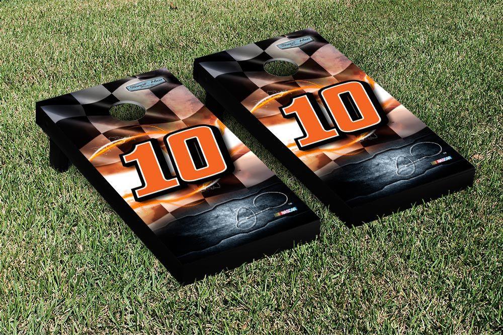Our NASCAR DANICA PATRICK #10 CORNHOLE GAME SET RACING FLAG VERSION. Get your custom set at victorytailgate.com