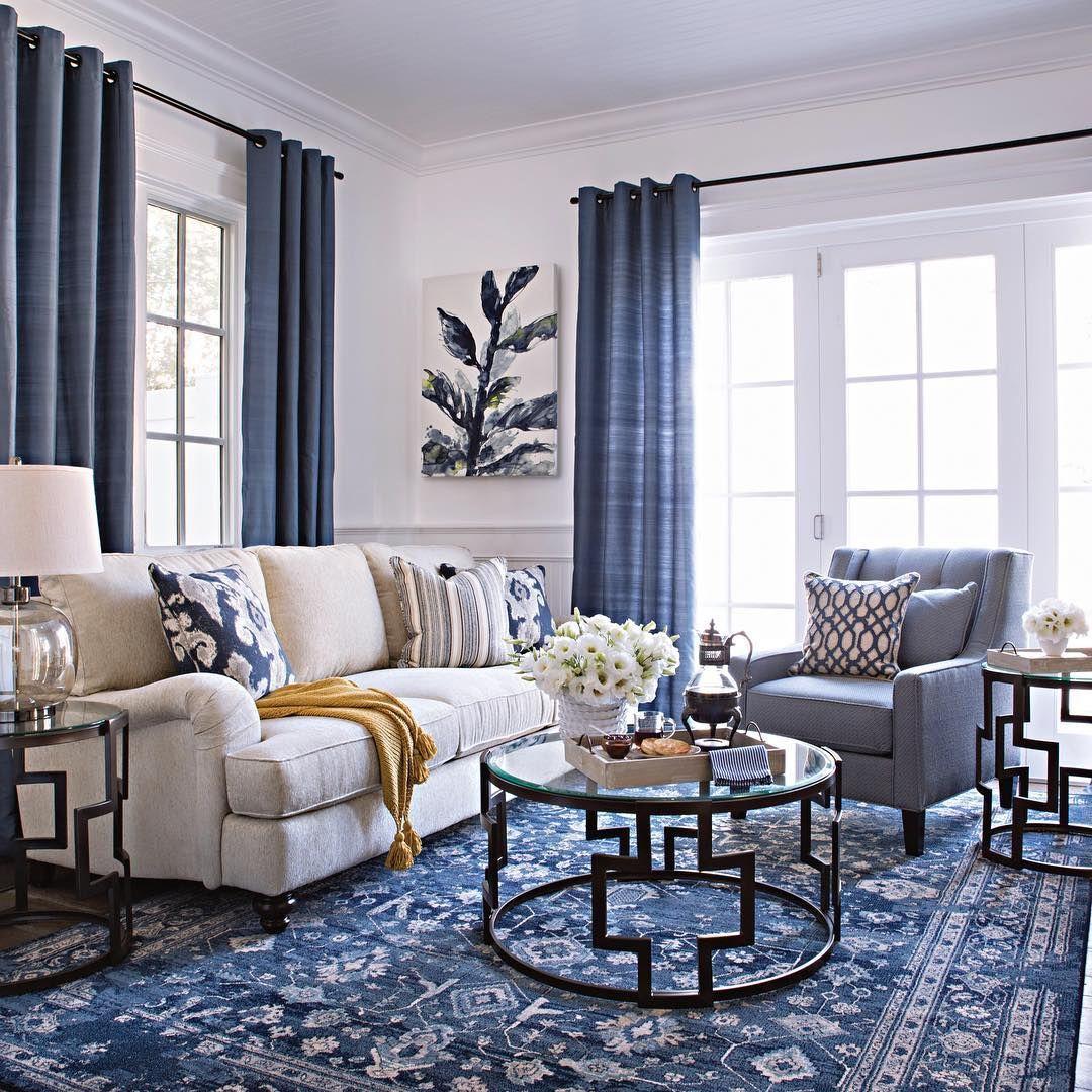 Living Spaces Livingspaces No Instagram Go Bold With Blue Livingspaces Blue Curtains Living Room Blue Living Room Decor Tan Living Room #tan #living #room #curtains
