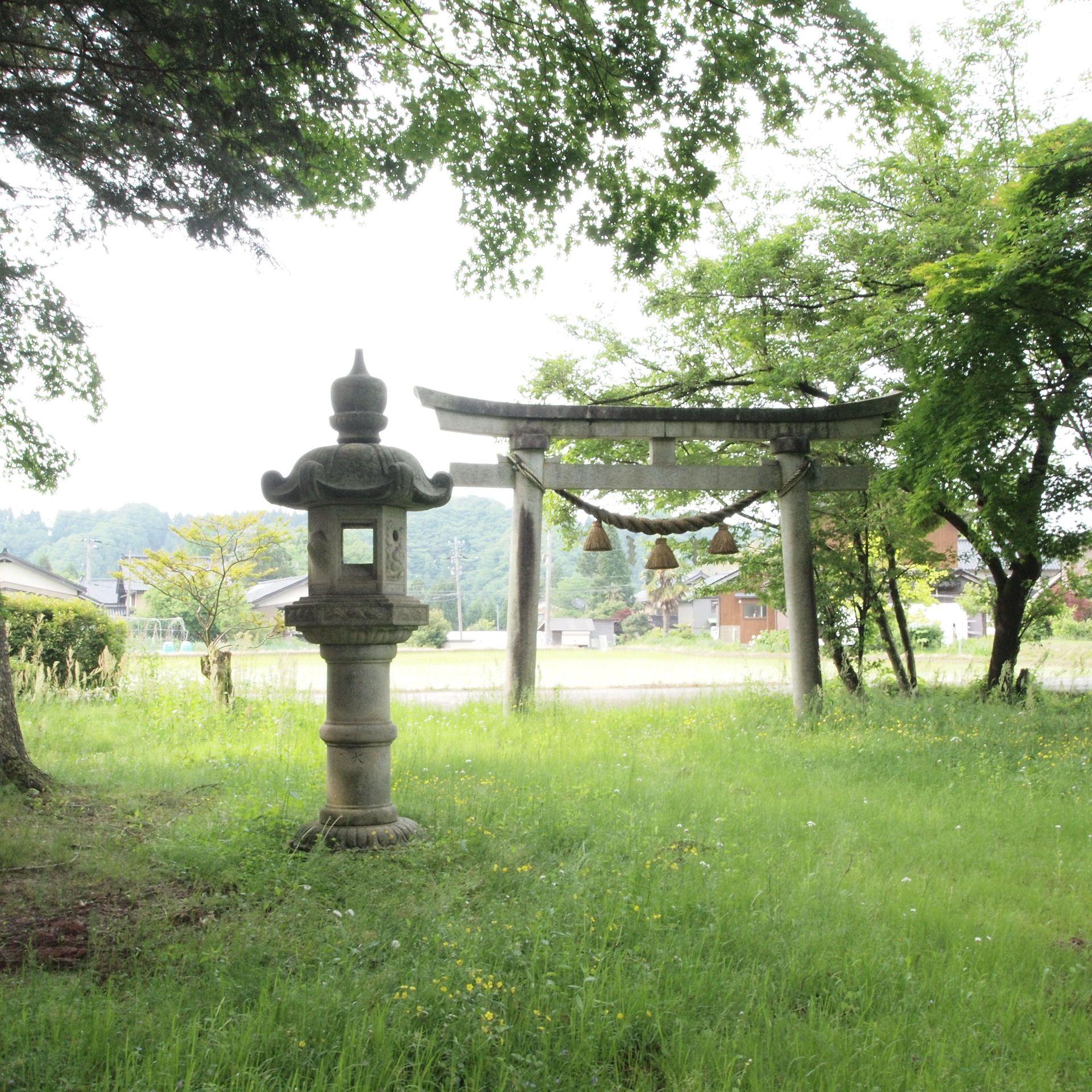 ジブリの映画にでてきそうな場所を見つけました 集落の中にある小さな小さな神社です ここの神社付近は いつ来ても透き通るような涼しさがを感じられるそう 神社 集落 付近
