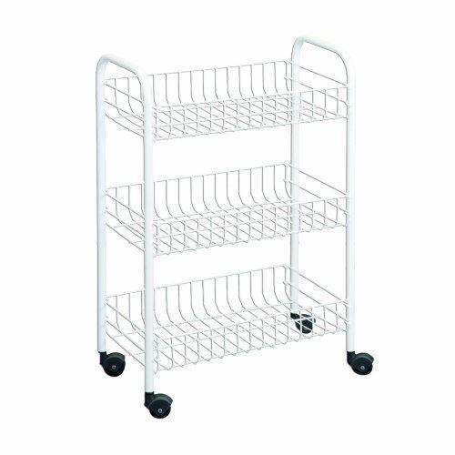 Wire World 3 Tier Rolling Cart Kitchen Storage Portable Organizer