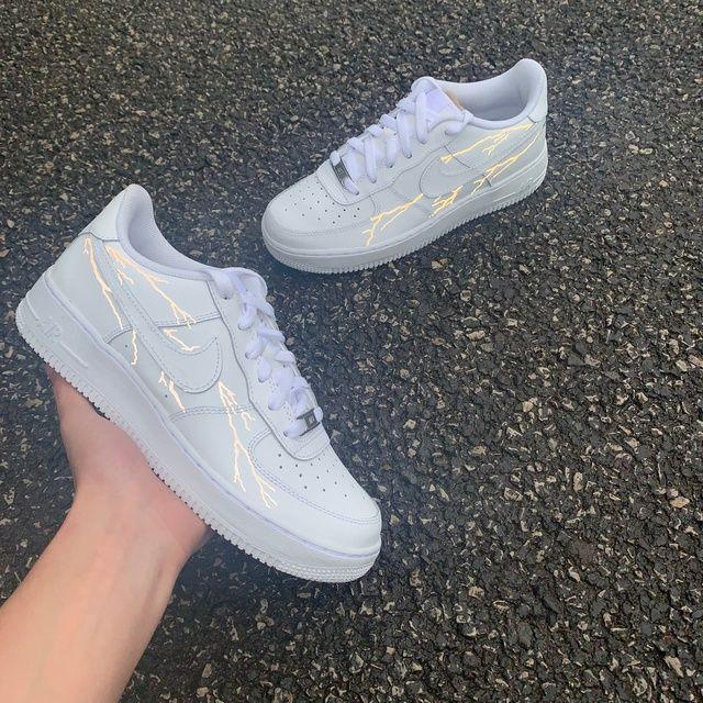 Nike AF1 White Reflective Lightning in 2020 Nike shoes
