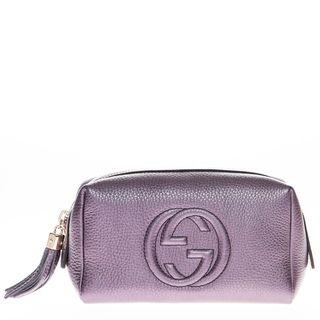 5ae6f6c9f03 Gucci Medium Soho Metallic Leather Cosmetic Case