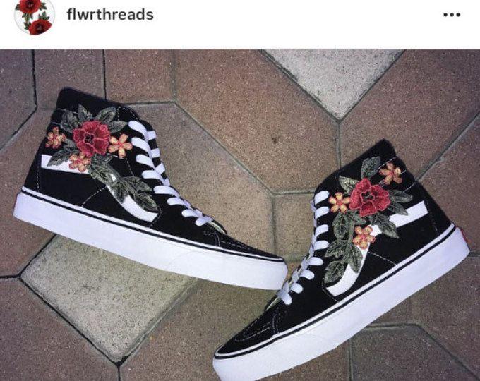 custom vans shoes black old skool vs sk8-hi with rose applique