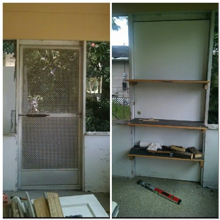 Cover the door by putting shelve