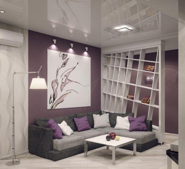 wohnzimmer-modern-einrichten-lavendel-lila-wandfarbe-grau-weiss - wohnzimmer grau lila weiss