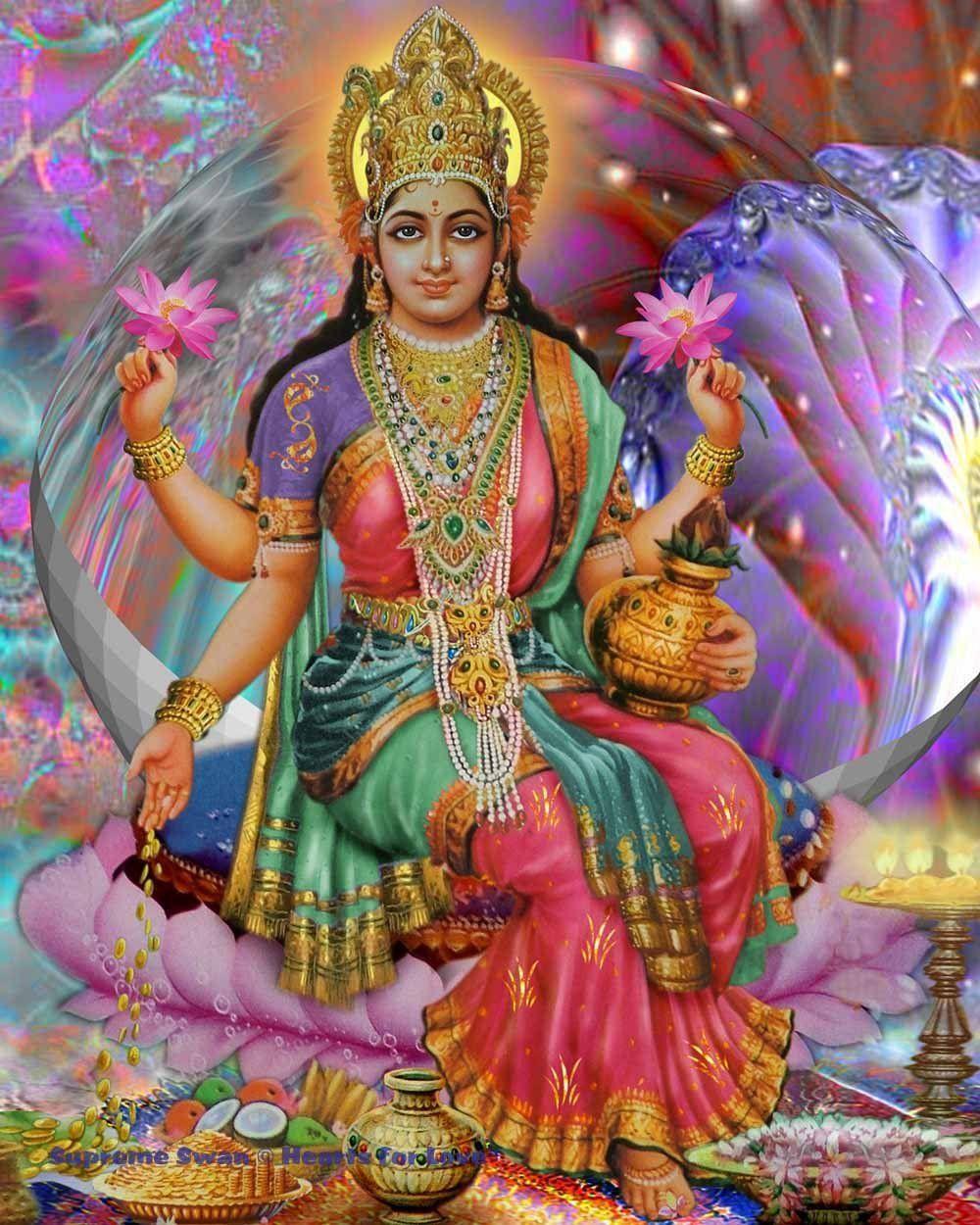 Hindu Poster Art: A Beautiful Art Print Of Lakshmi, Goddess Of Prosperity