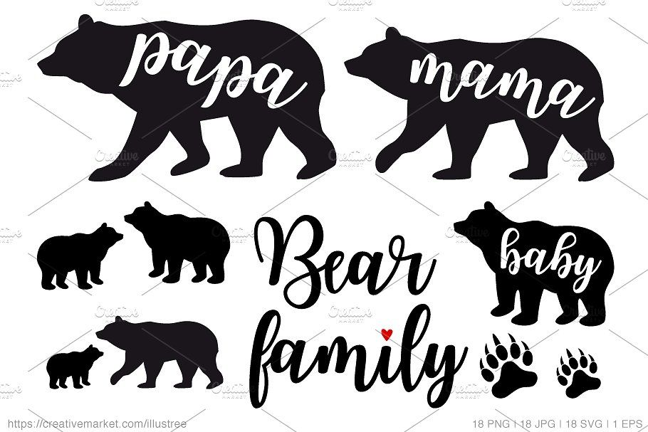 Download Bear family silhouettes, vector set | Silhouette, Bear ...