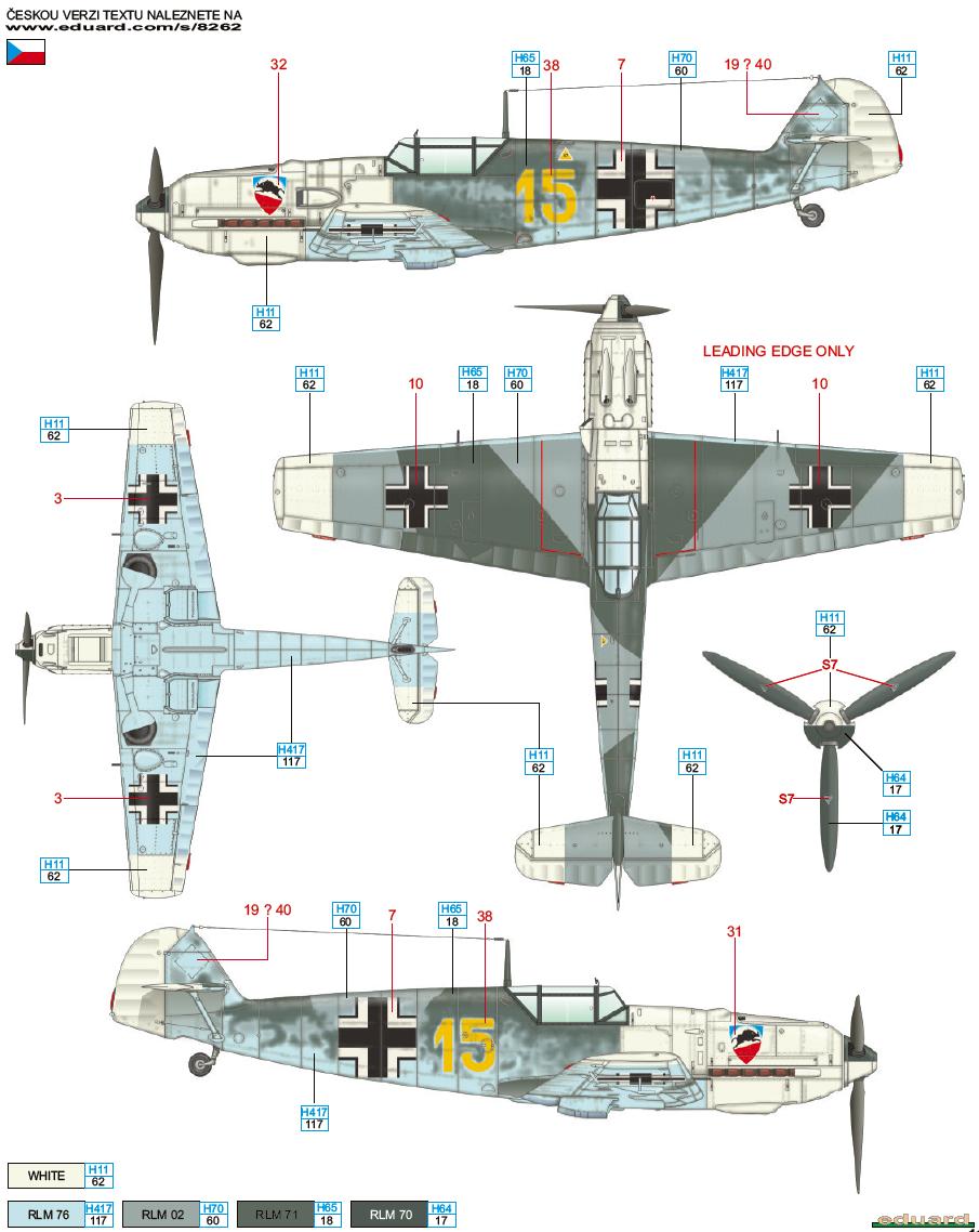 Messerschmitt Bf 109E-3 JG 52 Камуфляж Цветовой профиль